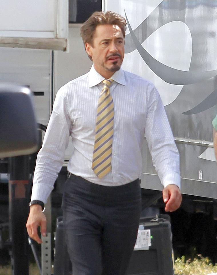 "Meanwhile, filming for ""Iron Man 2"" began on Wednesday. Robert Downey Jr. reprises his role as the armored hero, while Mickey Rourke and Scarlett Johansson will play villains Whiplash and Black Widow, respectively. Miguel Aguilar/<a href=""http://www.infdaily.com"" target=""new"">INFDaily.com</a> - April 7, 2009"