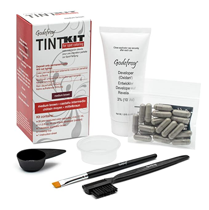 """<h3>Godefroy Professional Hair Color Tint Kit</h3><br><strong>Marie</strong><br><br>""""When the pandemic hit and salons closed, I could no longer get my brows tinted. I discovered this tint while online browsing. I don't wear much eye makeup so tinting my brows really helps me feel """"put together"""" - my eyebrows are naturally blonde and disappear into my face otherwise. At $20 for 20 applications ($1 per application), it's much less expensive than having it professionally done, and really easy to apply. If you get any dye onto your skin, it scrubs off so it's relatively fool-proof.""""<br><br><strong>Godefroy</strong> Professional Hair Color Tint Kit, $, available at <a href=""""https://amzn.to/3pgKyjq"""" rel=""""nofollow noopener"""" target=""""_blank"""" data-ylk=""""slk:Amazon"""" class=""""link rapid-noclick-resp"""">Amazon</a>"""