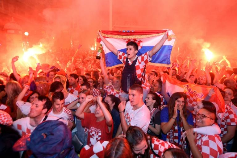 Croatia fans in Zagreb celebrate the World Cup semi-final win over England which sets up a first ever appearance in the final