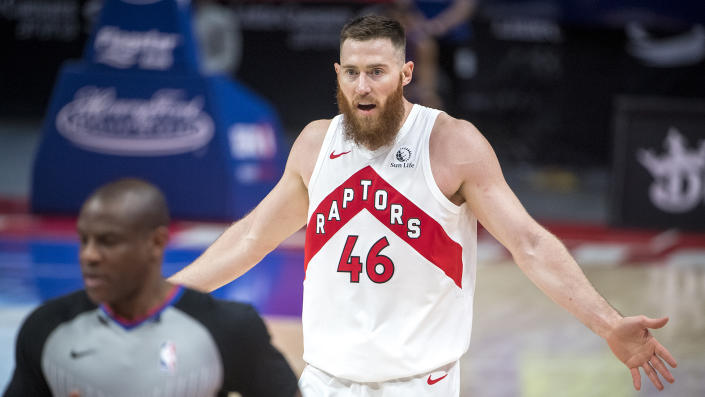 Aron Baynes can't seem to catch a break this year. (Photo by Nic Antaya/Getty Images)