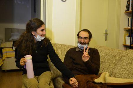Semih Ozakca, a 28-year-old Turkish teacher who has been on hunger strike for months to protest about losing his job in the government's purge since a failed coup attempt last year and released from jail pending his trial on terrorism-related charges, poses in his home with his wife Esra Ozakca in Ankara, Turkey, October 20, 2017. Picture taken October 20, 2017. Depo Photos via REUTERS