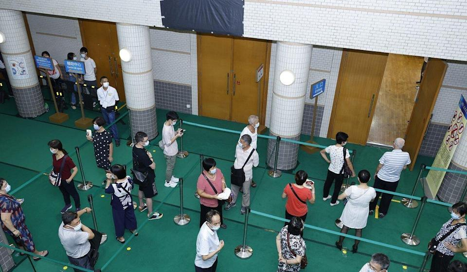 Voters queue up in Macau to cast their ballots last Sunday. Photo: Handout