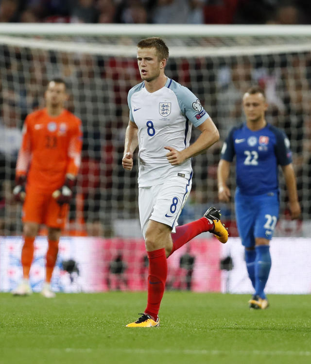 <p>England's Eric Dier walks back after scoring during the World Cup Group F qualifying soccer match between England and Slovakia at Wembley Stadium in London, England, Monday, Sept. 4, 2017. (AP Photo/Kirsty Wigglesworth) </p>
