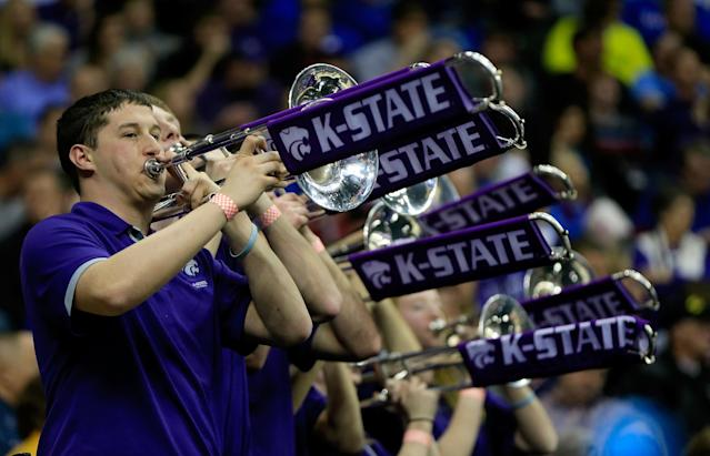 KANSAS CITY, MO - MARCH 22: The Kansas State Wildcats band performs in the second half against the La Salle Explorers during the second round of the 2013 NCAA Men's Basketball Tournament at the Sprint Center on March 22, 2013 in Kansas City, Missouri. (Photo by Jamie Squire/Getty Images)