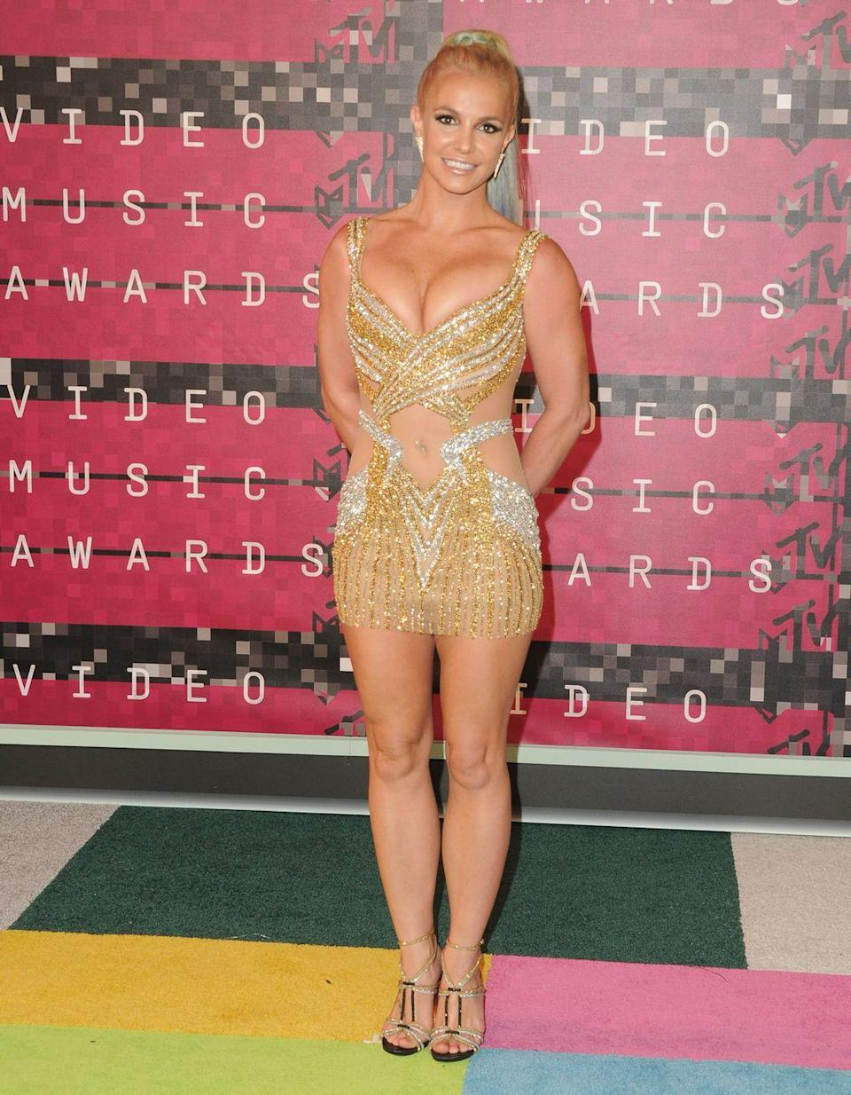 <p>Britney Spears wears an eye-catching outfit at the 2015 MTV Video Music Awards on August 30, 2015.</p>