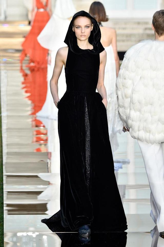 "<p>Audrey Hepburn's classic little black dress in ""<em>Breakfast at Tiffany's"" </em>gets an updated twist with a monastic hood from the Givenchy fall 2018 couture collection. (Photo: Getty Images) </p>"