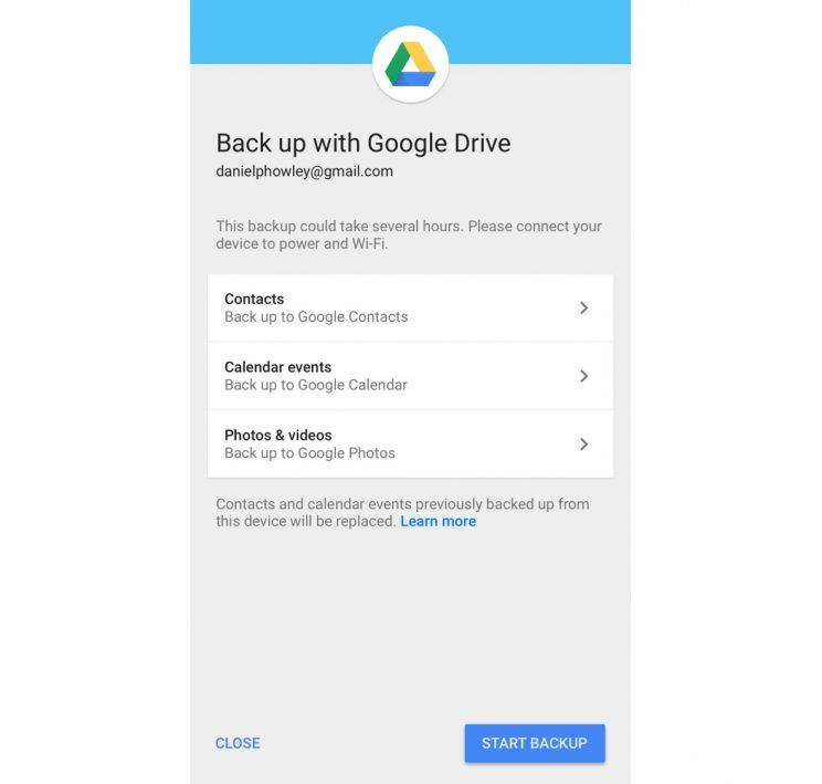 Back up data via Google Drive.