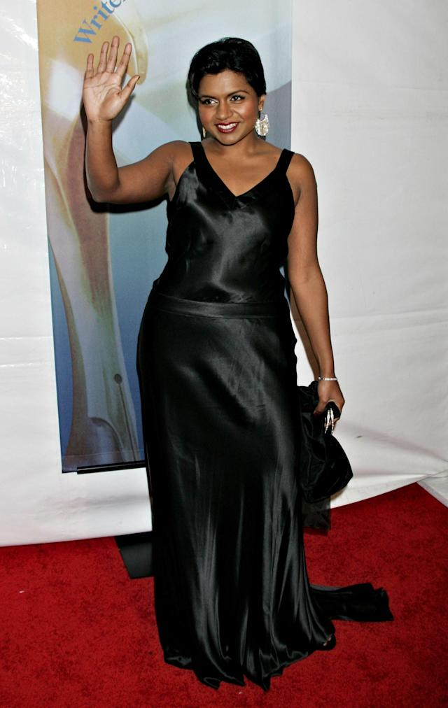 HOLLYWOOD - FEBRUARY 04: Actress Mindy Kaling arrives at the 2006 Writers Guild Awards held at The Hollywood Palladium on February 4, 2006 in Hollywood, California. (Photo by David Livingston/Getty Images)