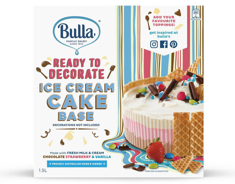 Pictured is the 1.5 litre Bulla ice cream cake, sold at Woolworths and IGA supermarkets nationally, which has been recalled due to the presence of soy.