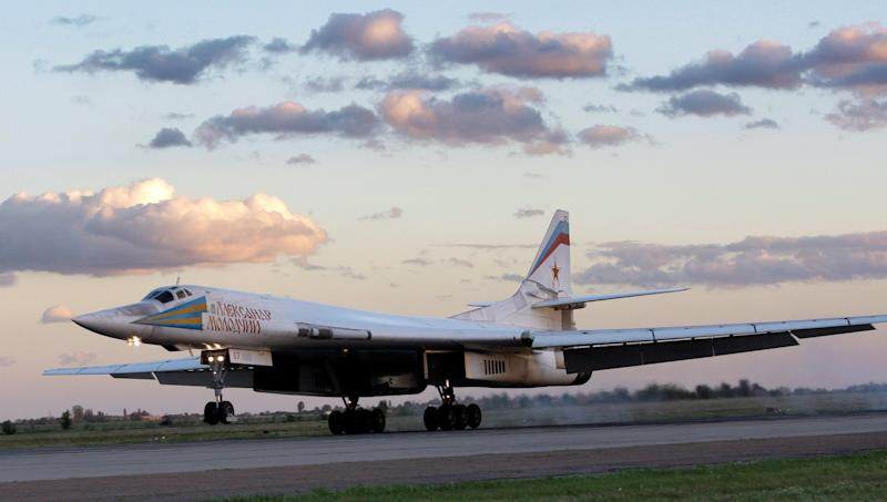Russia's strategic bomber Tu-160 or White Swan, the largest supersonic bomber in the world, lands at Engels Air Base near Saratov