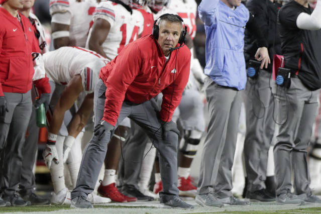 Ohio State's Urban Meyer watches from the sideline during the first half of an NCAA college football game against Purdue in West Lafayette, Ind., Saturday, Oct. 20, 2018. (AP)