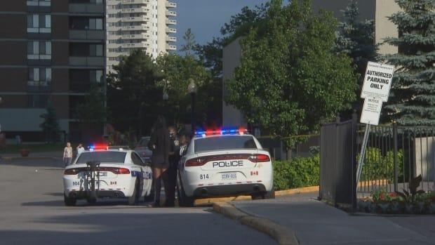 Peel police were called to the Brampton Towers apartment complex for a report of a shooting on Thursday. Police later said there was no evidence of a shooting, but the SIU is investigating after an 'interaction' between an officer and a man. (Greg Bruce/CBC - image credit)