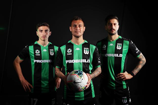 (L-R) Joshua Cavallo, Alessandro Diamanti and Panagiotis Kone of Melbourne United FC pose during the A-League 2019-20 A-League season launch at Max Watts on October 08, 2019 in Sydney, Australia. (Photo by Matt King/Getty Images)