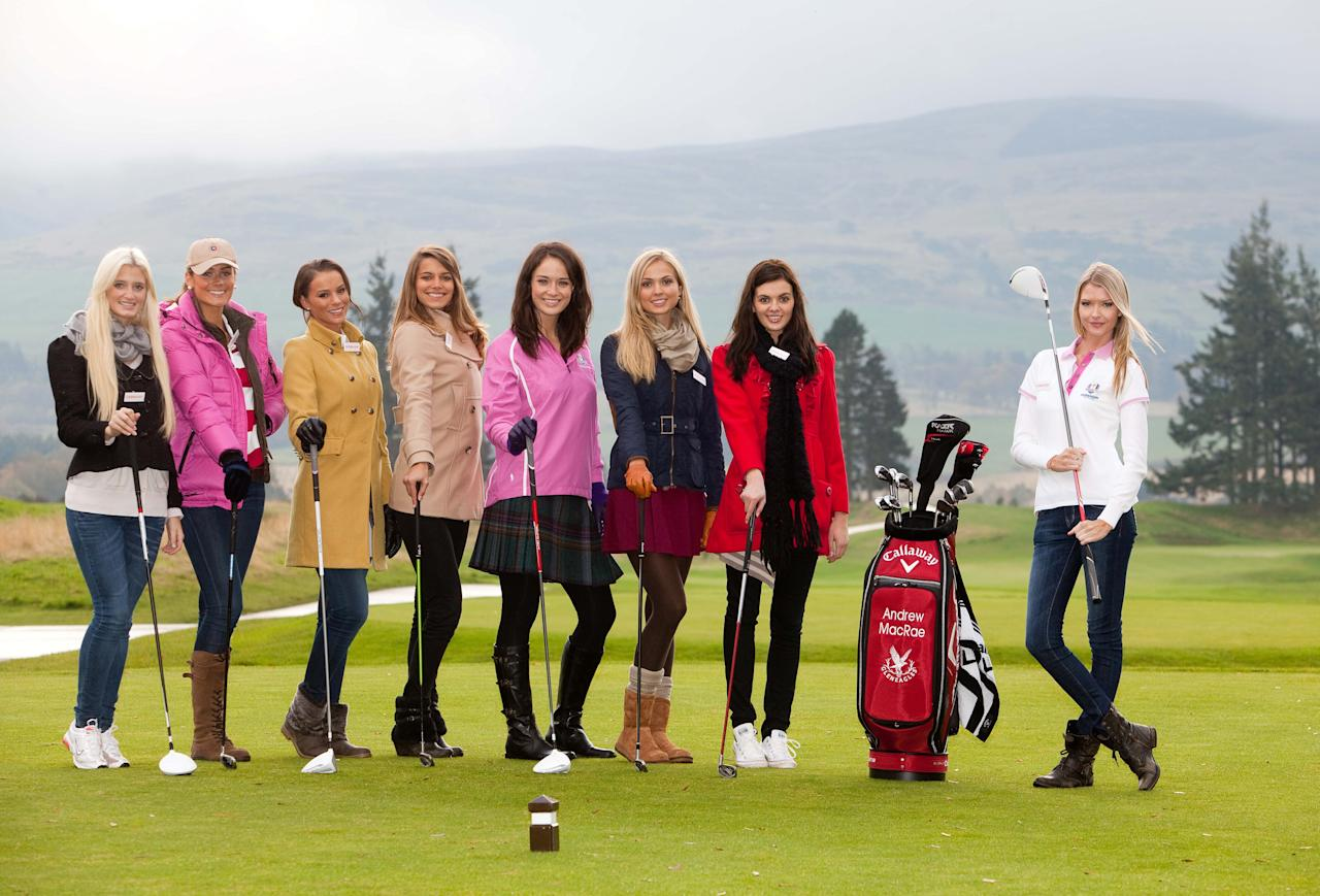 GLENEAGLES, UNITED KINGDOM - OCTOBER 25:  (Handout photograph from Miss World Ltd, only to be used in conjunction with Miss World Editorial Material) In this handout provided by Miss World Ltd, Miss World 2011 participants, Miss Germany, Sweden, Netherlands, France, Scotland, England, N.Ireland and Miss USA pose during a golf lesson on the Gleneagles golf course on October 25, 2011 in Gleneagles, Scotland. One hundred and twenty two participants of the Miss World pageant are visiting Scotland as part of a UK tour to celebrate Miss World's 60th birthday. The final of the competition will take place in Earls Court, London on Sunday 6th of November.   (Photo by Miss World Ltd via Getty Images)