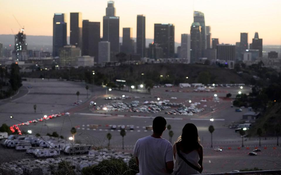 A vaccination site at Dodger Stadium in Los Angeles - AP