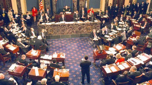 PHOTO: The U.S. Senate votes on articles of impeachment and acquits President Bill Clinton, February 12, 1999. (Getty Images)