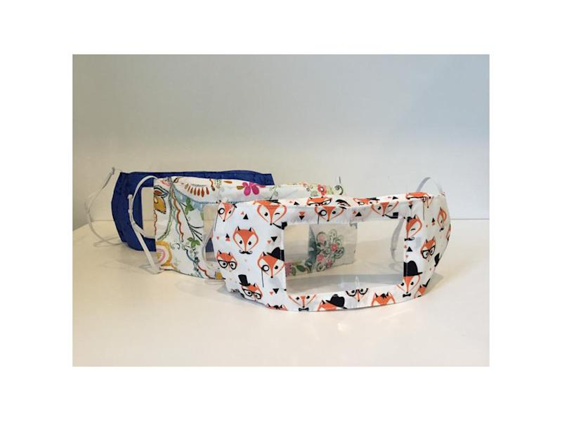 There's a growing selection of clear masks with bold and brightcolours or patterns to choose fromEtsy