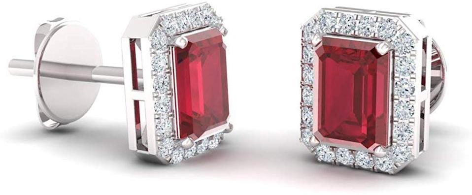 These earrings have 42 conflict-free gem stones in total. (Photo: Amazon)