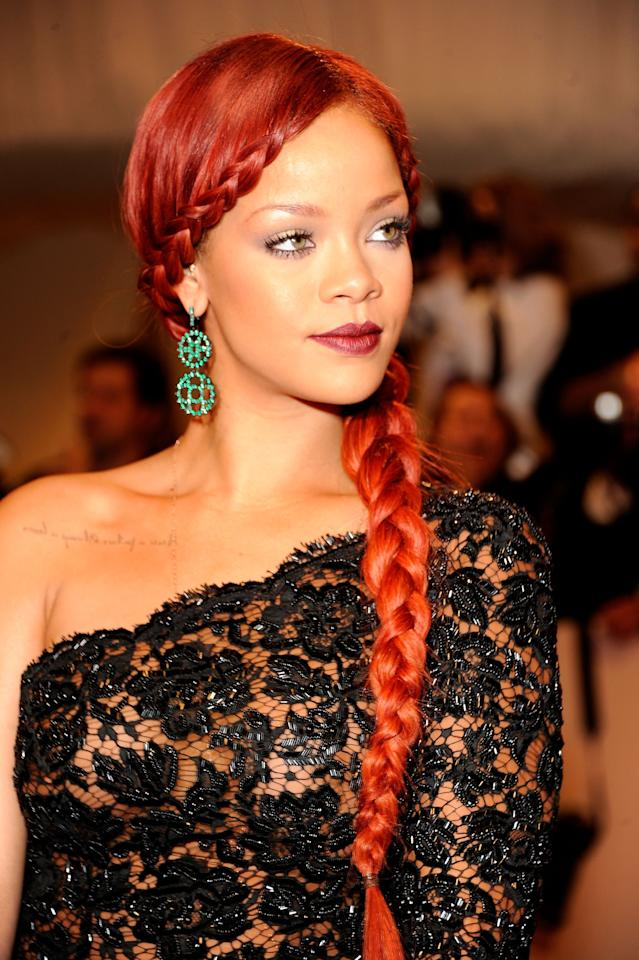 <p>Rihanna always slays at the Met Gala — and, you know, in general. Here, she gave off mermaid vibes with a long, fire-engine red braid.</p>