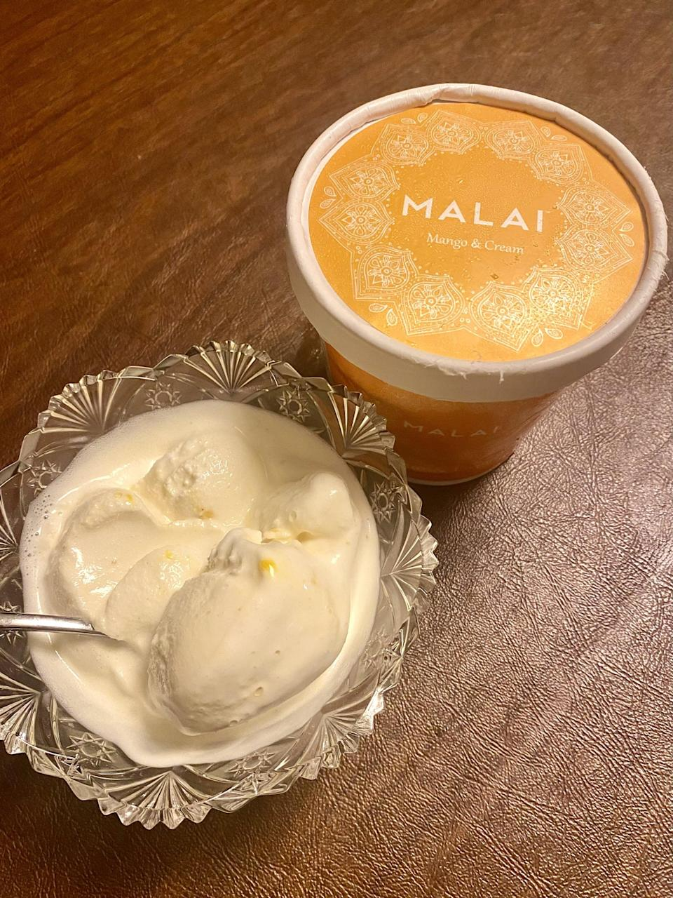<p>The Mango and Cream ice cream from the <span>Kalamata Kitchen's Adventure Ice Cream Pack</span> ($89) tastes like a mango milkshake, more specifically a mango lassi. It's sweet and fruity, rich and creamy, with little bits of mango incorporated into each bite. The texture of this pint is almost like a sorbet-ice cream blend. If you love mangos, you'll absolutely adore this. This flavor is something that everyone can enjoy, it's dependable and a classic. It's delish and a safe bet!</p>