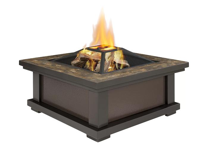 Spruce up any outdoor area with this sleek fire pit, which features a stylish slate tile top and uses real wood to warm up the space. (Photo: Wayfair)