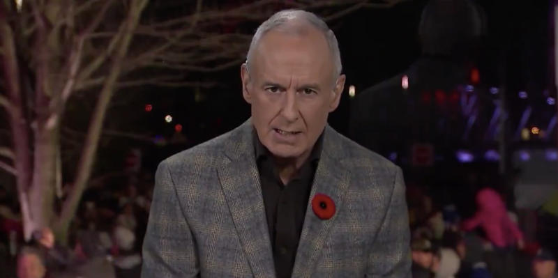 Ron MacLean apologized Sunday for Don Cherry's remarks on Coach's Corner the previous night. (Twitter//@BradyTrett)