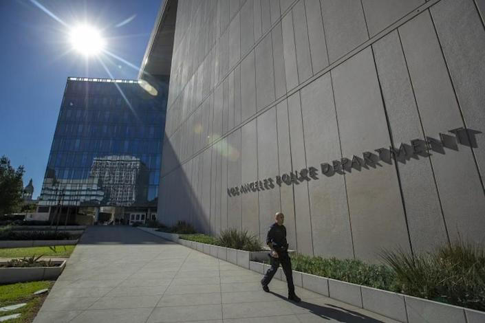 Overall, shows LAPD Headquarters on 1st St. in downtown Los Angeles