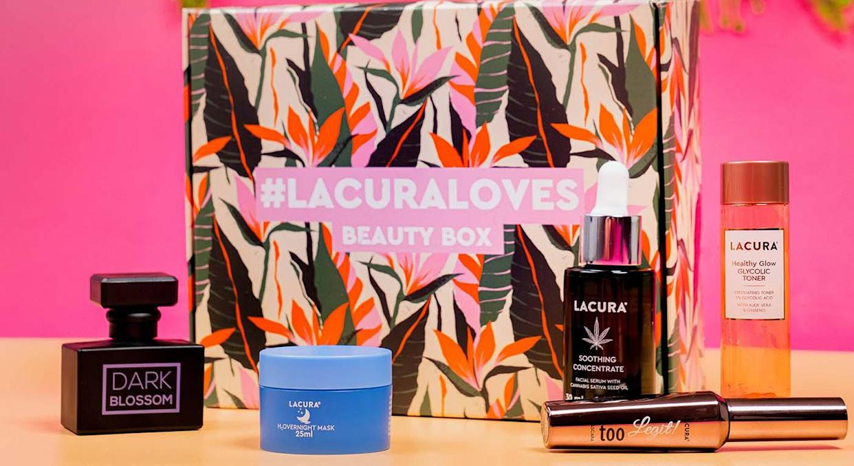 Aldi's Lacura Loves Beauty Box is filled with five of their favourite beauty products.  (Aldi)