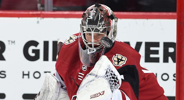Eric Comrie has been traded to the Detroit Red Wings for Vili Saarijarvi. (Photo by Norm Hall/NHLI via Getty Images)