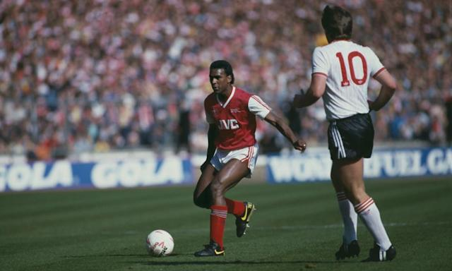 "<span class=""element-image__caption"">David Rocastle at the age of 19, up against Jan Molby of Liverpool during Arsenal's 2-1 victory in the 1987 League Cup final at Wembley.</span> <span class=""element-image__credit"">Photograph: Bob Thomas/Getty Images</span>"