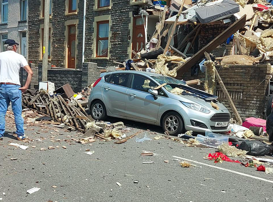 A number of properties and vehicles in the street were damaged. (Kirsten Alison Williams/Twitter/PA)