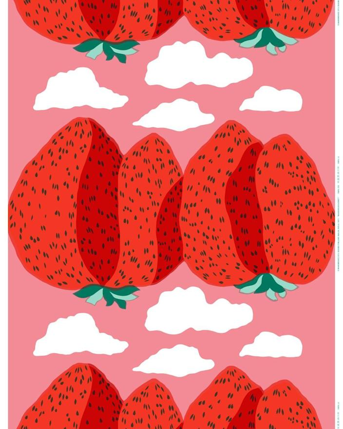 """Here's another item from the Marimekko collection, because those strawberry mountains are just so good. This printed cotton fabric would make for an ideal tablecloth. $53, Marimekko. <a href=""""https://www.marimekko.com/us_en/mansikkavuoret-cotton-fabric-l-red-red-white-050614-330"""" rel=""""nofollow noopener"""" target=""""_blank"""" data-ylk=""""slk:Get it now!"""" class=""""link rapid-noclick-resp"""">Get it now!</a>"""