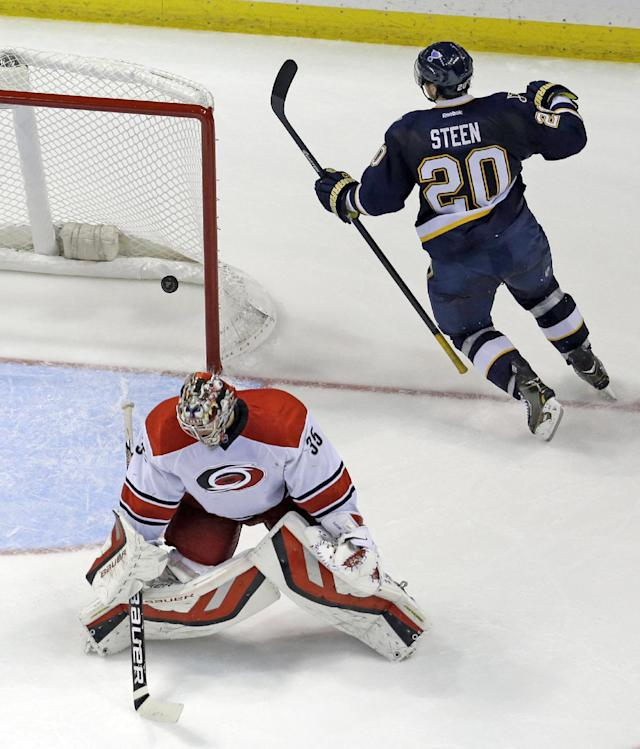 St. Louis Blues' Alexander Steen (20) celebrates after scoring past Carolina Hurricanes goalie Justin Peters during the third period of an NHL hockey game Saturday, Nov. 16, 2013, in St. Louis. The Blues won 4-2. (AP Photo/Jeff Roberson)