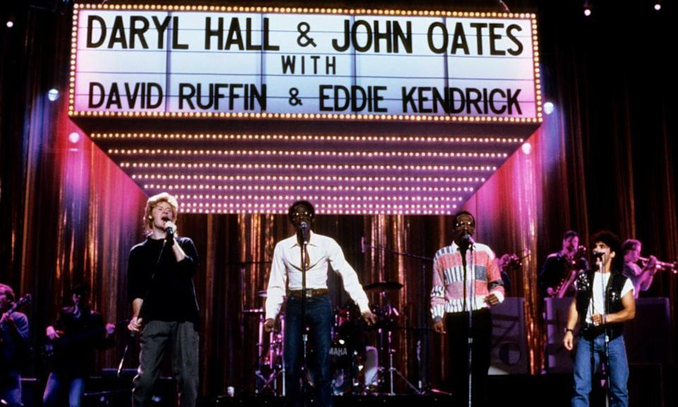 Hall & Oates with David Ruffin and Eddie Kendrick in 1985
