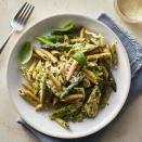 "<p>This healthy chicken pesto pasta is easy to make thanks to convenience ingredients like rotisserie chicken and store-bought pesto. The addition of fresh asparagus--which is cooked in the same pot as the pasta--brightens up the look and the flavors of this family-friendly and easy one-pot dinner. Fresh basil, if you have it on hand, is a nice finishing touch. <a href=""http://www.eatingwell.com/recipe/273007/chicken-pesto-pasta-with-asparagus/"" rel=""nofollow noopener"" target=""_blank"" data-ylk=""slk:View recipe"" class=""link rapid-noclick-resp""> View recipe </a></p>"