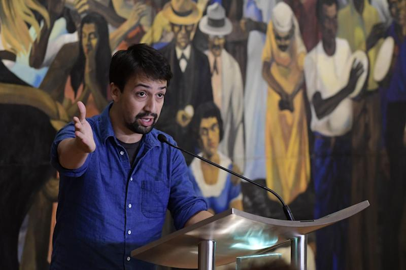 """Hamilton"" playwright Lin-Manuel Miranda gives a press conference at the Art Museum of Puerto Rico in San Juan, Puerto Rico: AP Photo/Carlos Giusti"