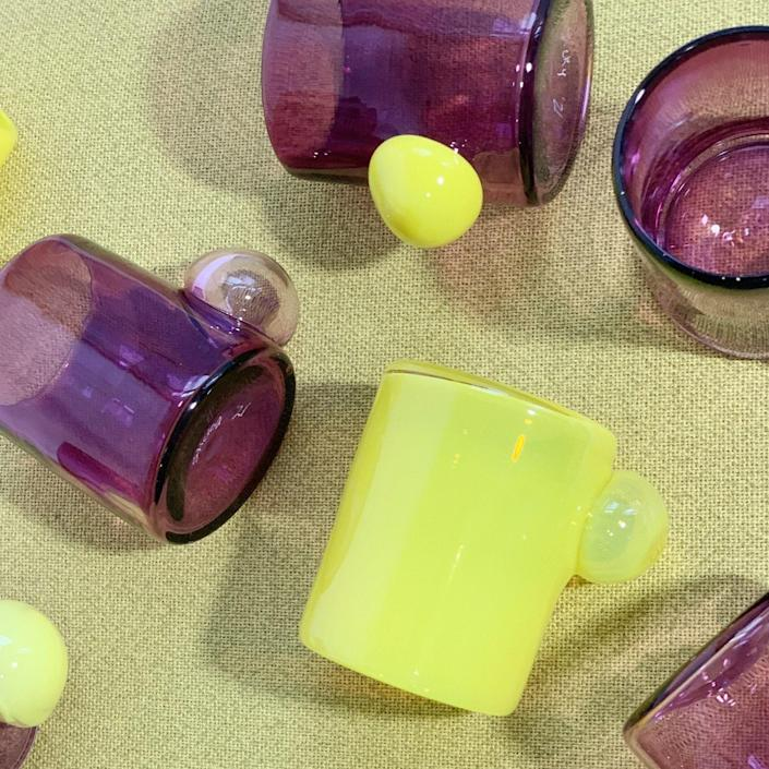 """I can't imagine having a boring time if you're drinking from one of these Bubble Tumblers, which are available in a handful of fun colors. The handblown, made-to-order piece is designed for a compelling tablescape. $70, Goldune. <a href=""""https://www.goldune.com/collections/kitchen/products/bubble-cup-18"""" rel=""""nofollow noopener"""" target=""""_blank"""" data-ylk=""""slk:Get it now!"""" class=""""link rapid-noclick-resp"""">Get it now!</a>"""