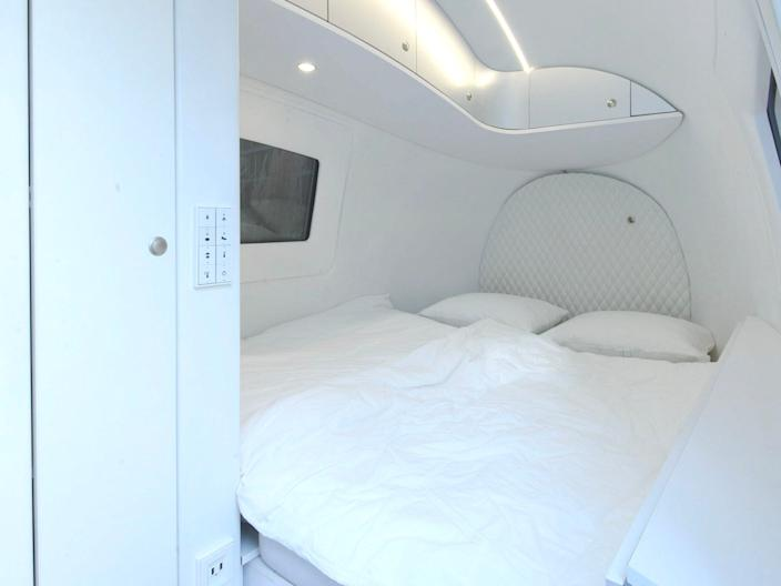 The Ecocapsule's double bed.