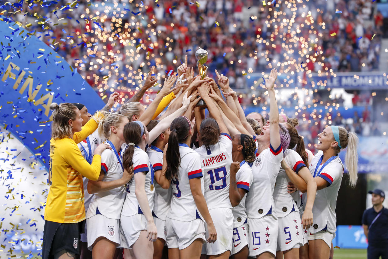 947d76113 The U.S. Women's National Soccer Team celebrates its 2019 World Cup win.  (Photo by