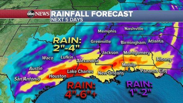 PHOTO: The rainfall is expected to be somewhat excessive, with a widespread 2 to 4 inches of rain expected from Texas to Georgia, and locally 4 to 6 inches of rain in parts of extreme Southeast Texas and Louisiana. (ABC News)