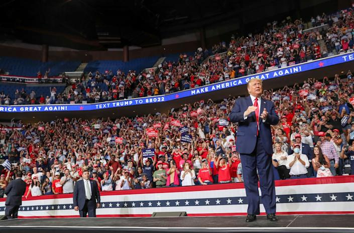 Donald Trump takes the stage at his Tulsa rally in June 2020: REUTERS