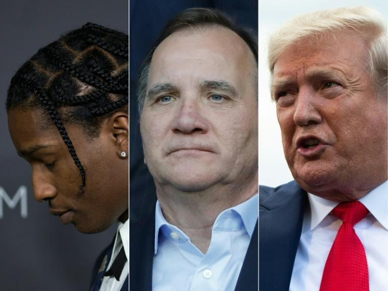 The assault charges laid on Rocky A$AP (left) have caused Swedish Prime Minister Stefan Lofven (centre) to be targeted by the Twitter wrath of US President Donald Trump (right) (AFP Photo/DAVID MCNEW, THOMAS SAMSON, Roberto SCHMIDT)