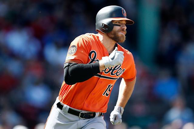 Chris Davis broke through with a three-hit game, snapping his MLB record 54 at-bat hitless streak. (AP Photo/Michael Dwyer)