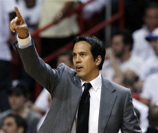 Miami Heat head coach Erik Spoelstra gestures during the first half of Game 5 in their NBA basketball Eastern Conference finals playoffs series against the Boston Celtics, Tuesday, June 5, 2012, in Miami. (AP Photo/Lynne Sladky)