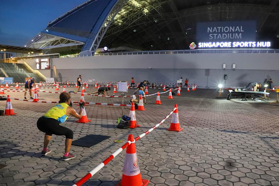 Patrons participating in Garmin Sports Sessions at the Singapore Sports Hub with safe-distancing measures in place. (PHOTO: Singapore Sports Hub)