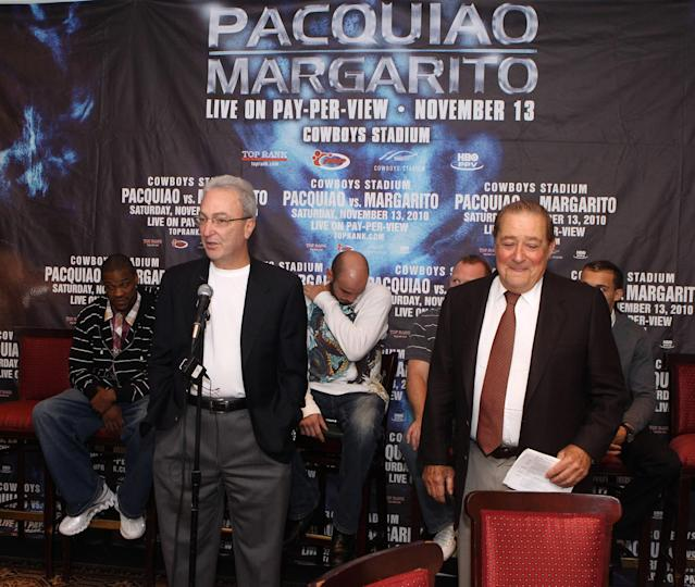 Chairman of Top Rank Boxing Bob Arum and co-promoter Russell Peltz answer questions from reporters at luncheon press conference for the upcoming Pacquiao vs. Margarito fight at the Friars Club on October 26, 2010 in New York City. (Photo by Tom Briglia/FilmMagic)