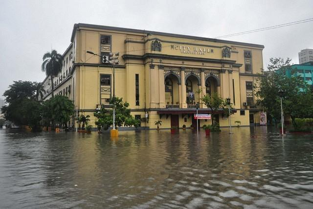 Majority of the metro is flooded due to heavy rains from the previous night, seen in V.Mapa station of the LRT line 2 in Manila, on 07 August 2012. (George Calvelo, NPPA Images)