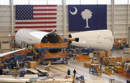 Sections of a 787 Dreamliner being built for Air India are seen at Boeing's final assembly building in North Charleston