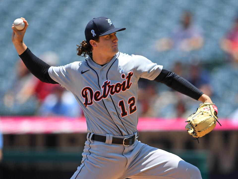 ANAHEIM, CA - JUNE 20: Casey Mize #12 of the Detroit Tigers pitches in the first inning of the game against the Los Angeles Angels at Angel Stadium of Anaheim on June 20, 2021 in Anaheim, California. (Photo by Jayne Kamin-Oncea/Getty Images)