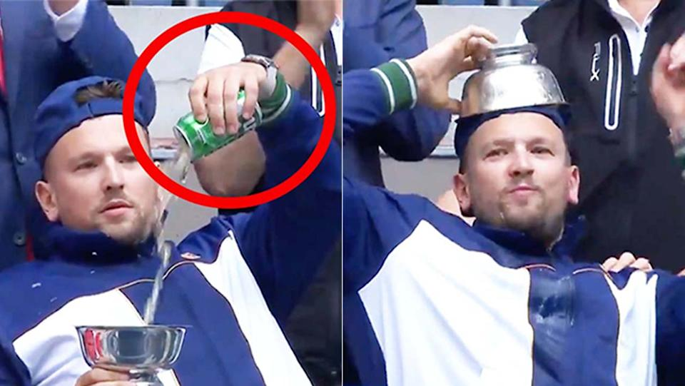 Dylan Alcott (pictured left) pouring a beer into his US Open trophy and (pictured right) celebrating after chugging the beer.